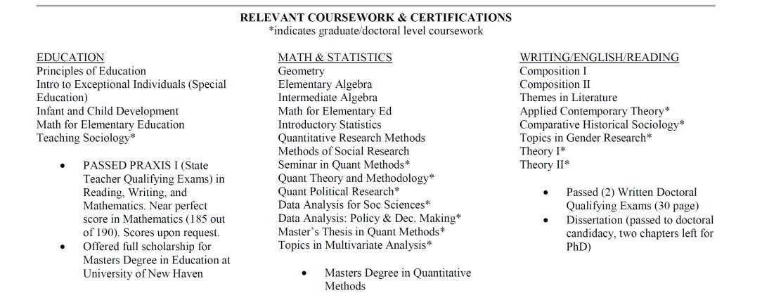 relevant coursework